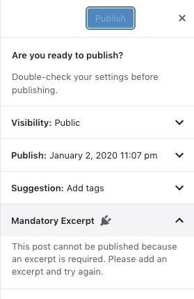 Mandatory Excerpts for WordPress