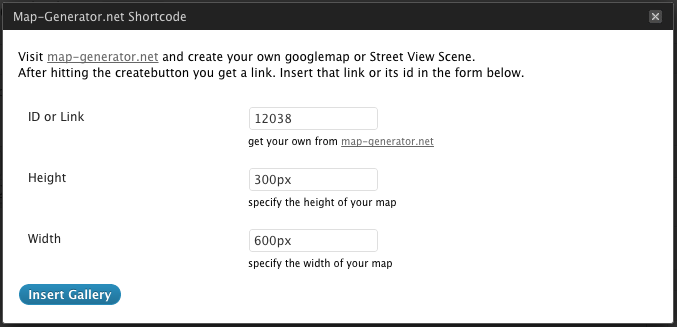 On Click you'll get an interface to insert your Map