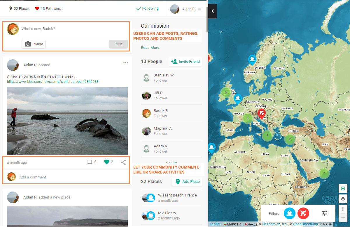 Social features example (map feed)