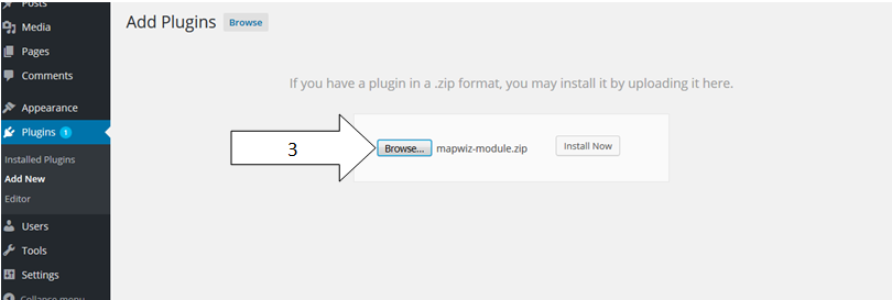 <strong>Add Plugins</strong> - click on 'Broswer' to upload Plugin zip file.