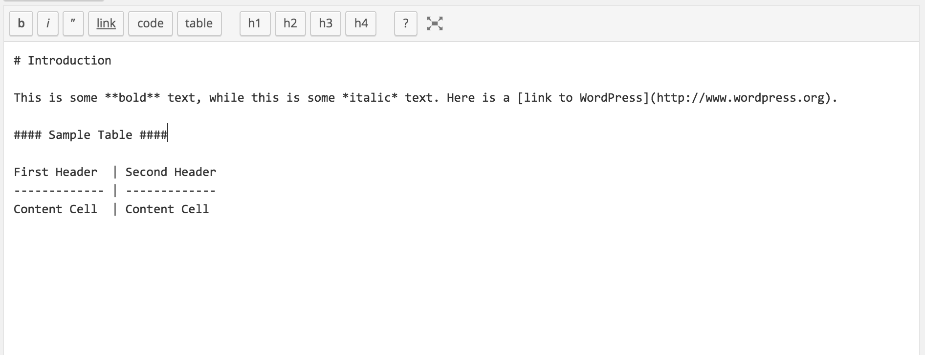 This shows the text editor with Markdown buttons