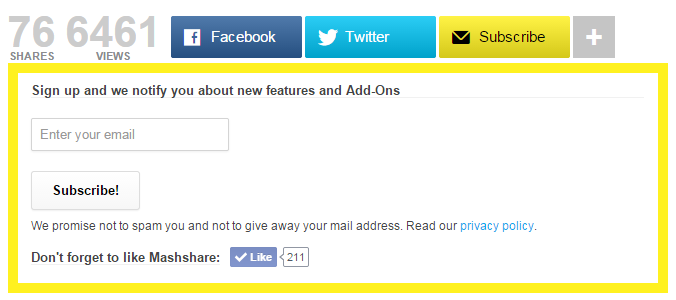 Subscribe form with Social Media Facebook button and mail subscribe