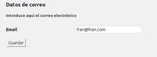 Opciones de correo electrónico