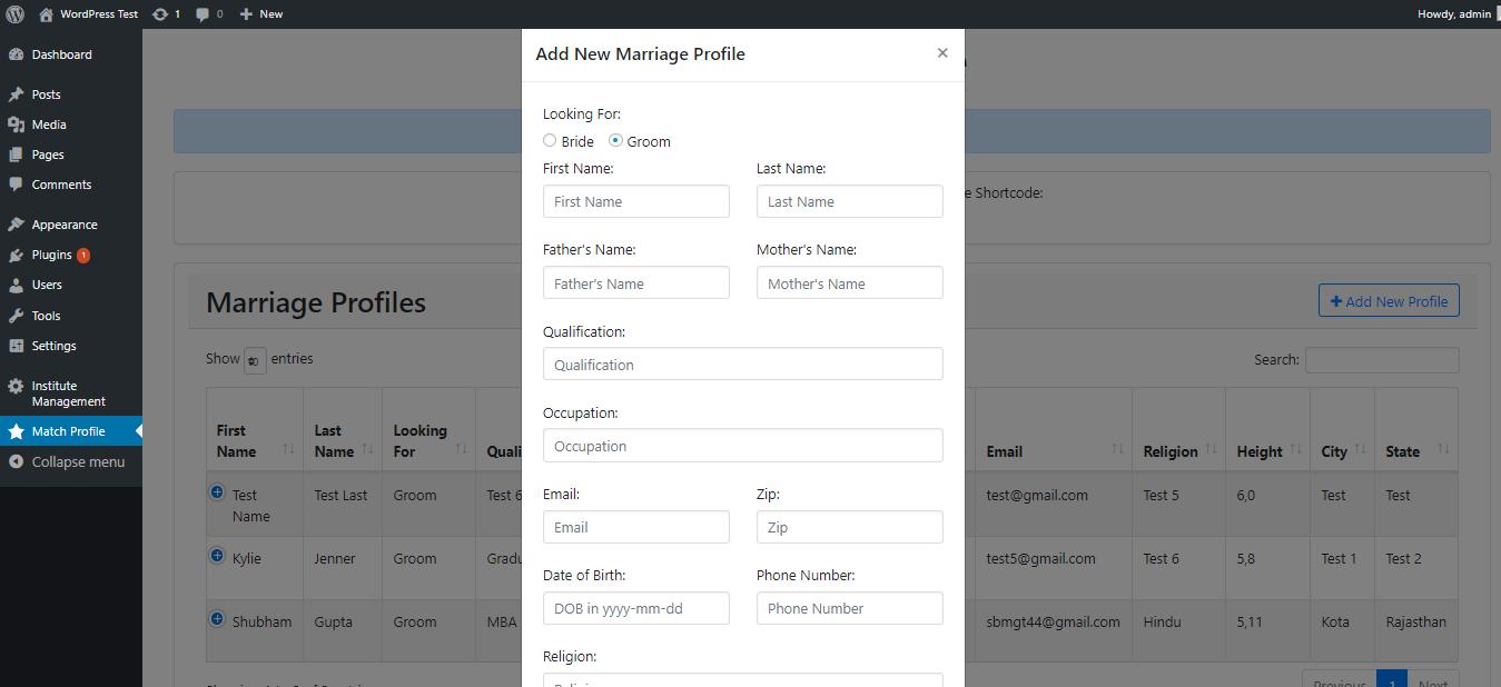 Admin add new profile form