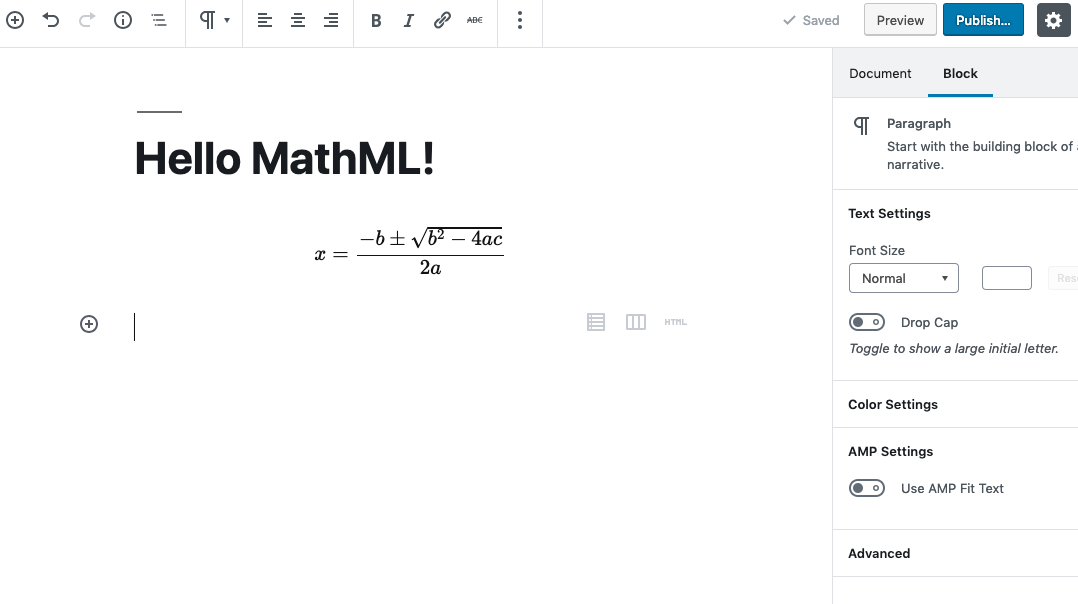 Example of adding a MathML block.
