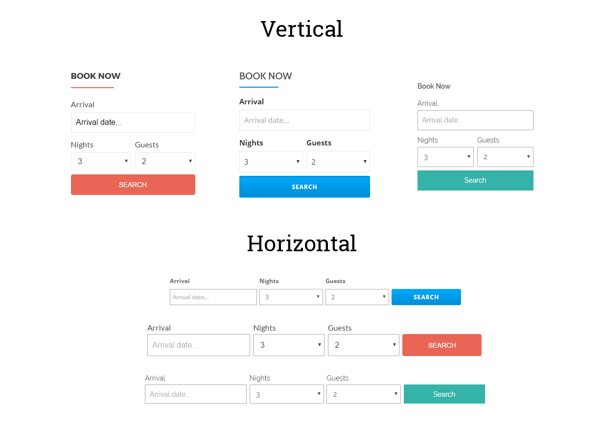 Example of vertical and horizontal layout with different themes.