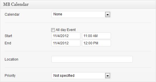 Event configuration