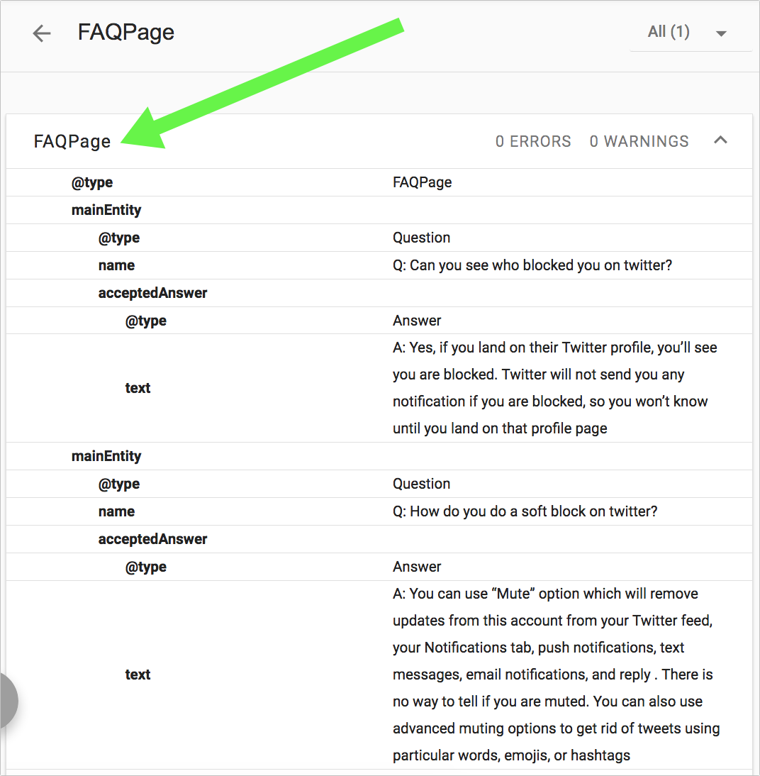 FAQPage scheme markup example.