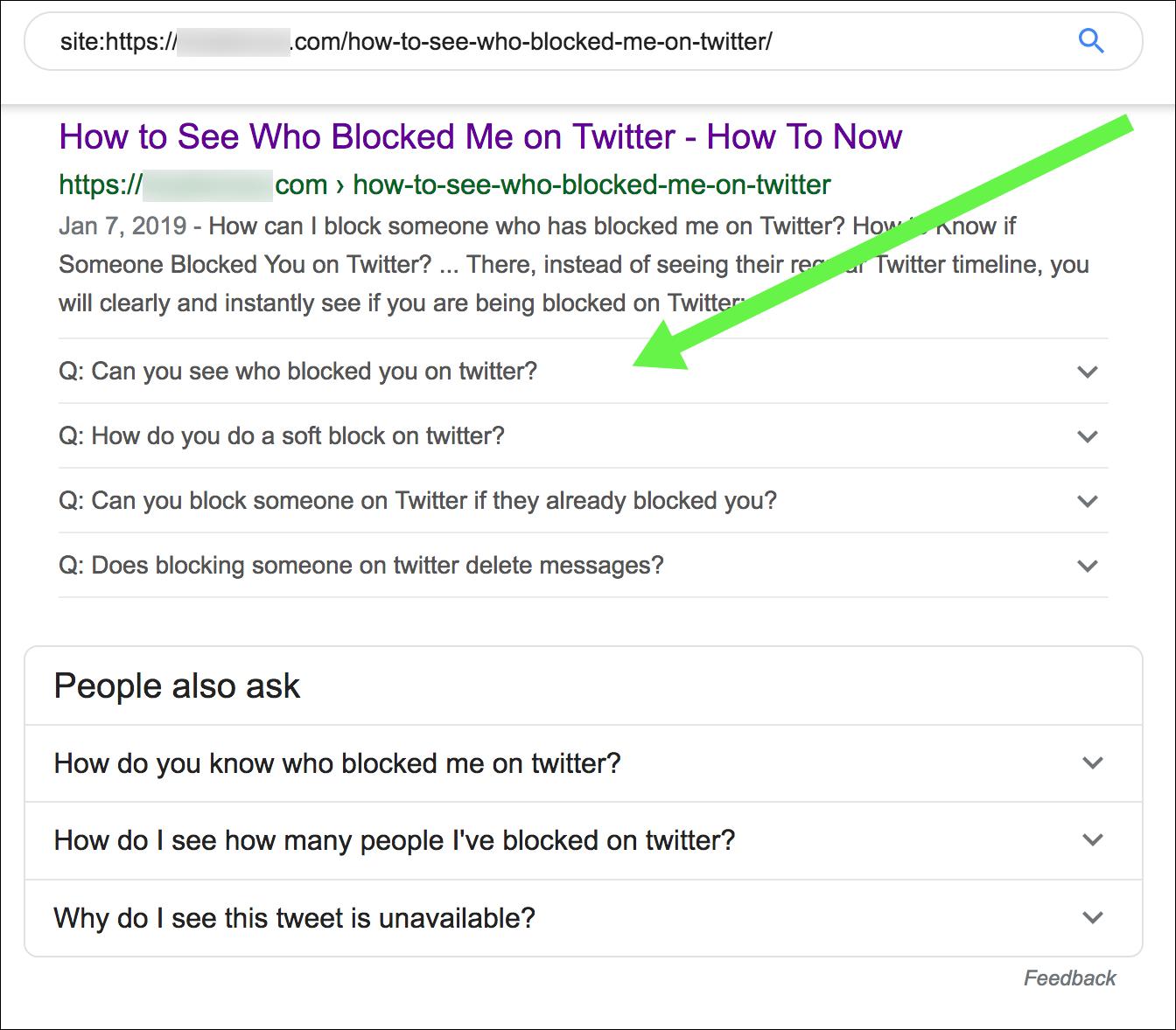 Example of Google FAQ rich result.
