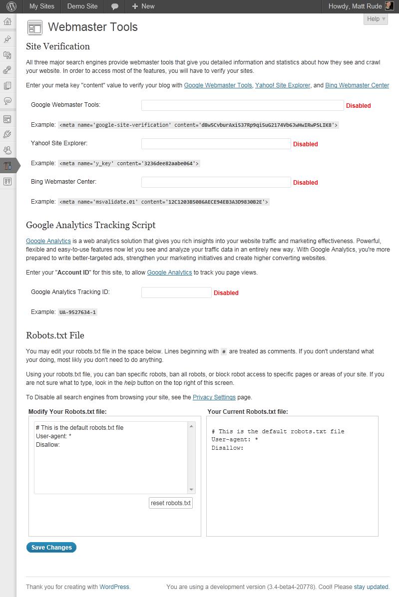 The main Webmaster Tools options screen.