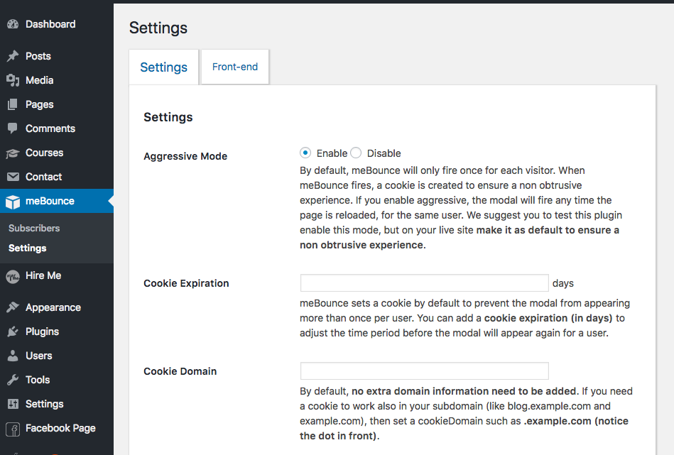 <p>meBounce settings page, where you can customize/manage its behaviour.</p>