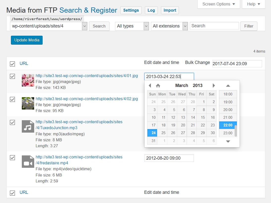 Registration file selection