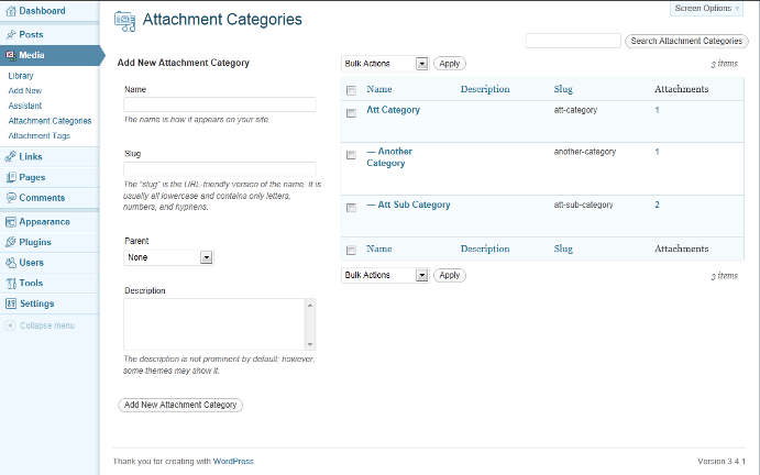 "A typical edit taxonomy page, showing the ""Attachments"" column."