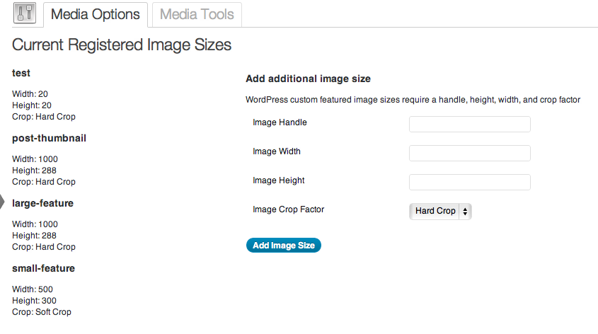 The Add additional image sizes options page