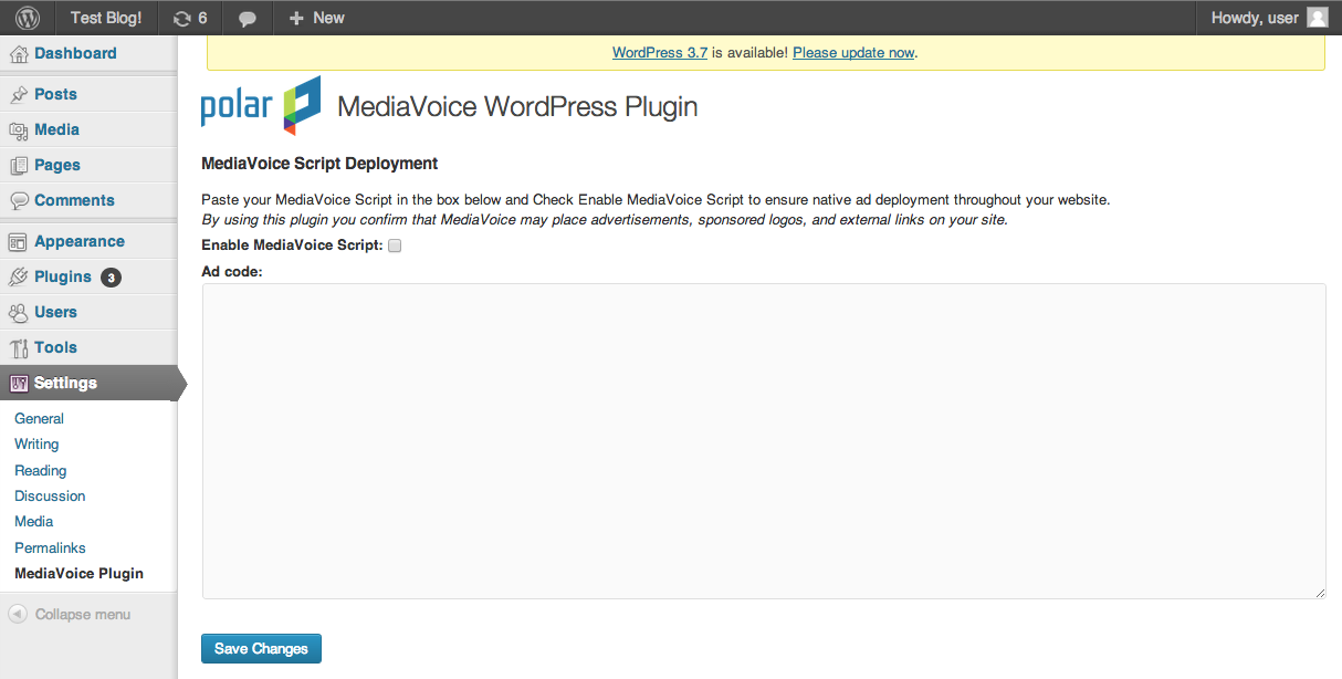 The MediaVoice settings page before enabling and adding ad code