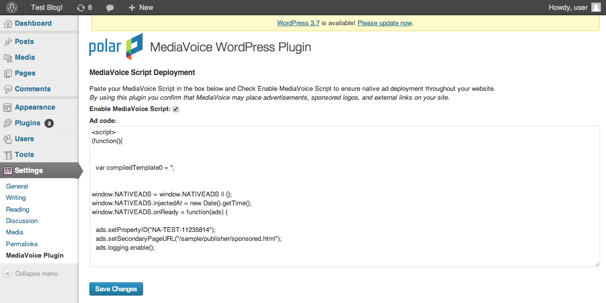Adding ad code for MediaVoice