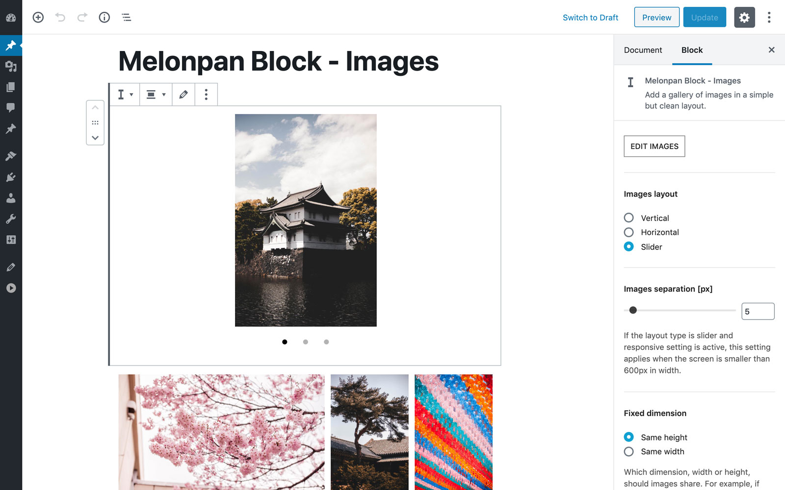 Block edit panel.
