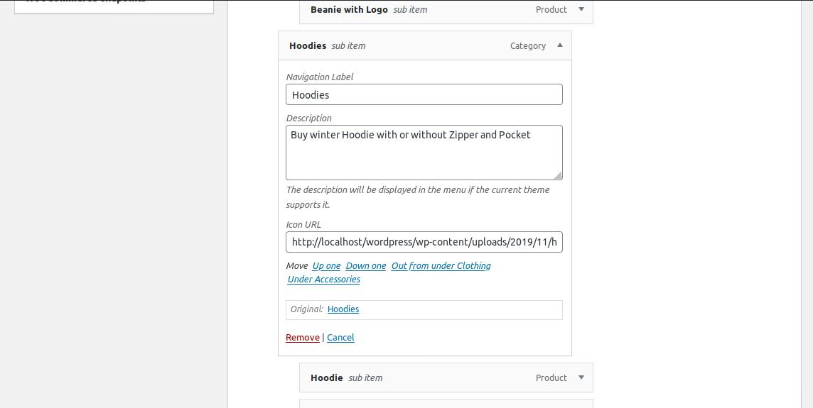 Write item description and copy paste icon url