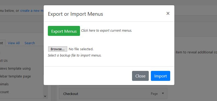 Import & Export Popup.