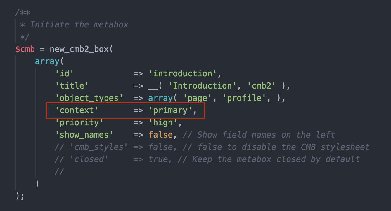 "Add a 'context' of primary when registering your meta box for it to appear above the editor (code example using <a href=""https://wordpress.org/plugins/cmb2/"">CMB2</a>)."