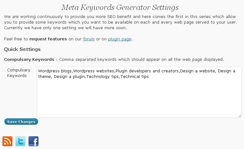 Settings page. Please add master keyword list here.