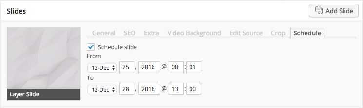 The 'Schedule' tab contains the start and end date as well as a checkbox to activate / deactivate the schedule.