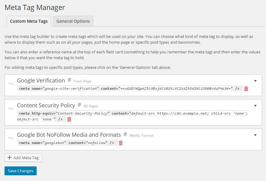 Meta Tag Manager – WordPress plugin | WordPress org