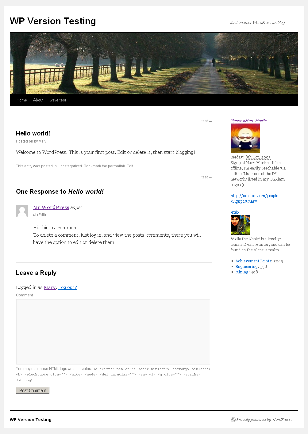 How the widgets look in the default WP theme.