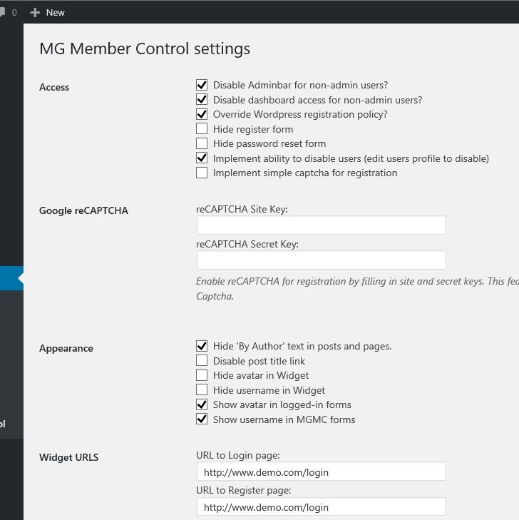 MG Member Control settings