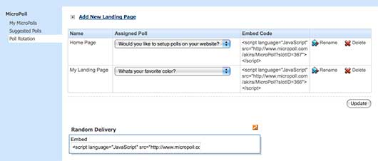 Obtaining the embed code in your MicroPoll account.