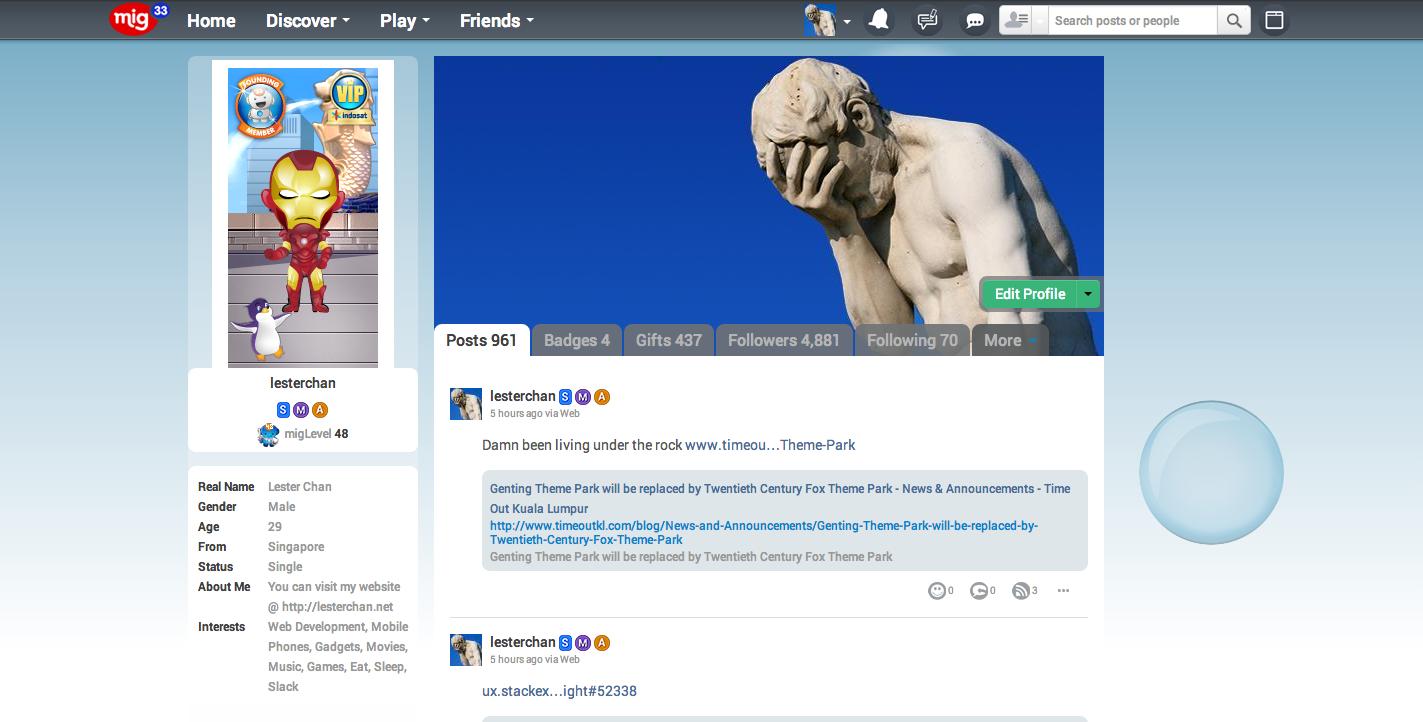mig33's Screenshot: mig33 Miniblog