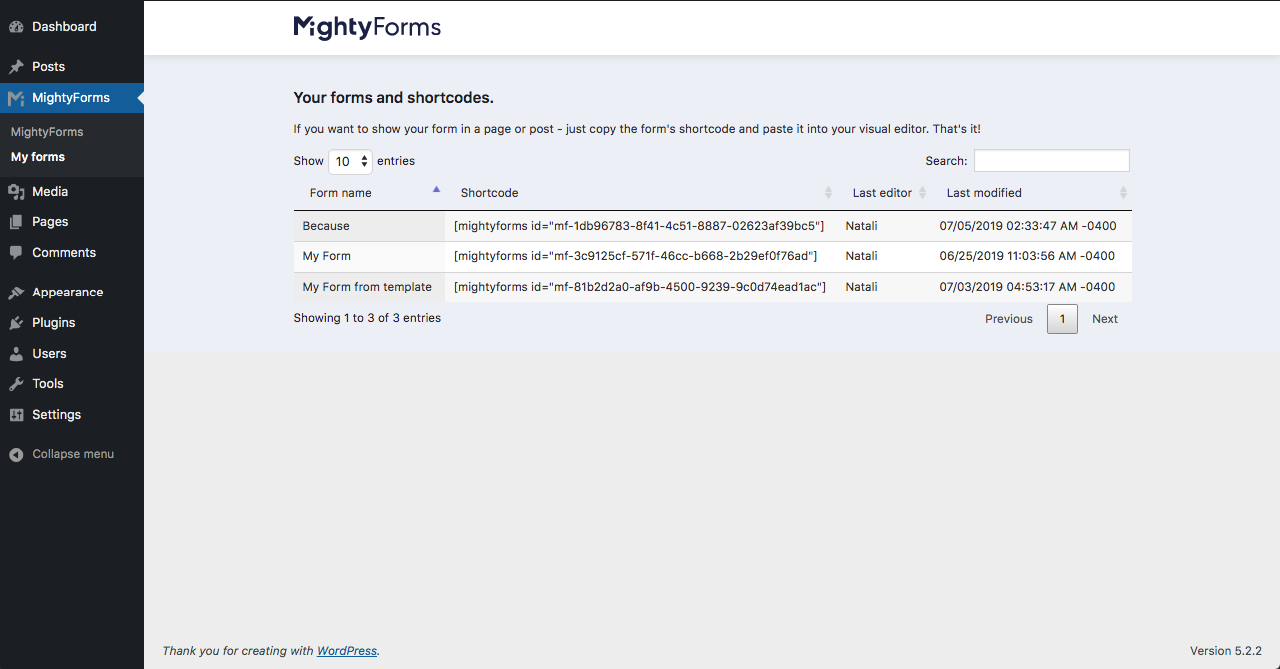 MightyForms intergration with WordPress