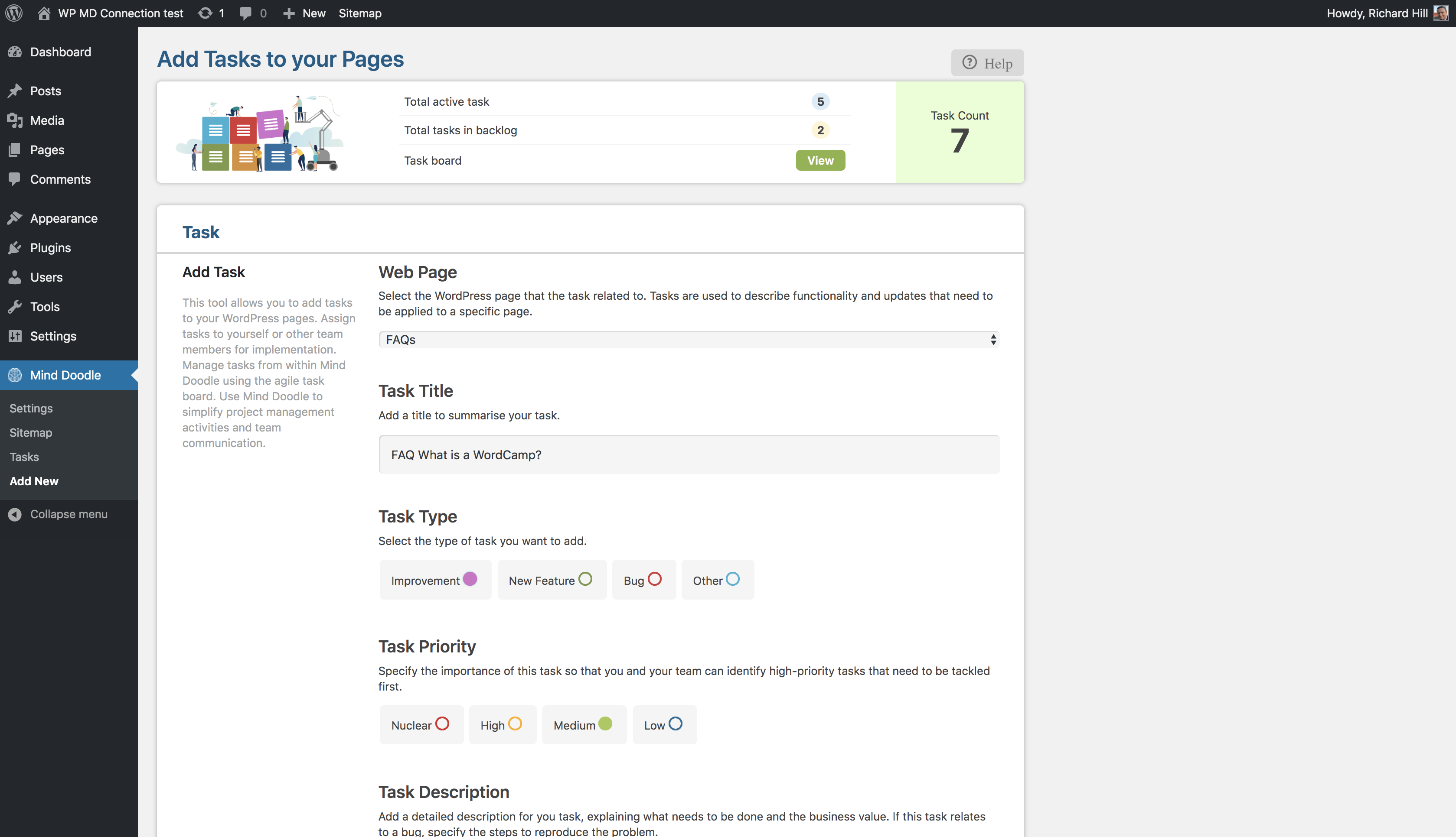 This screenshot shows the add task form and how you can assign to a developer for implementation