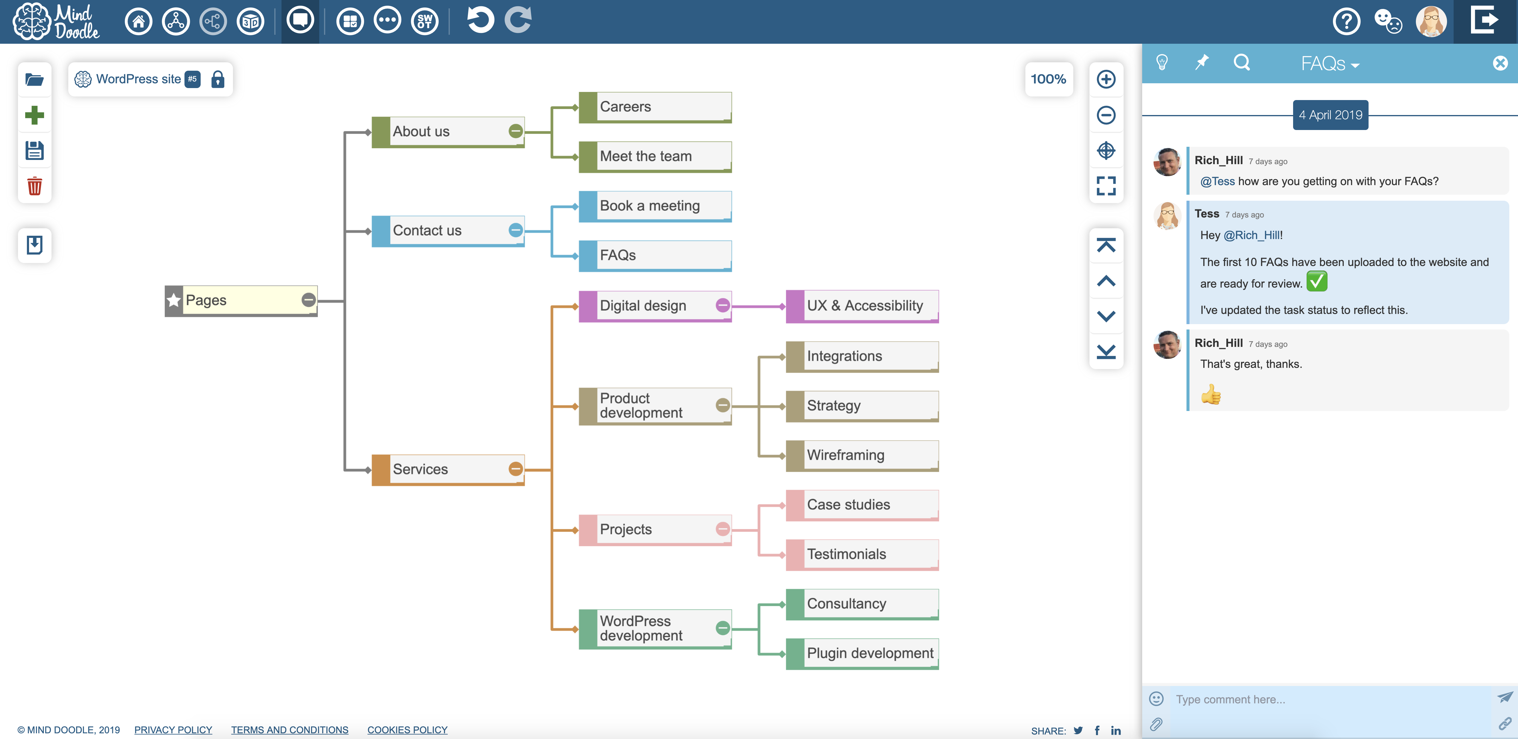 This screenshot shows the Mind Doodle website view with integrated team chat collaboration.