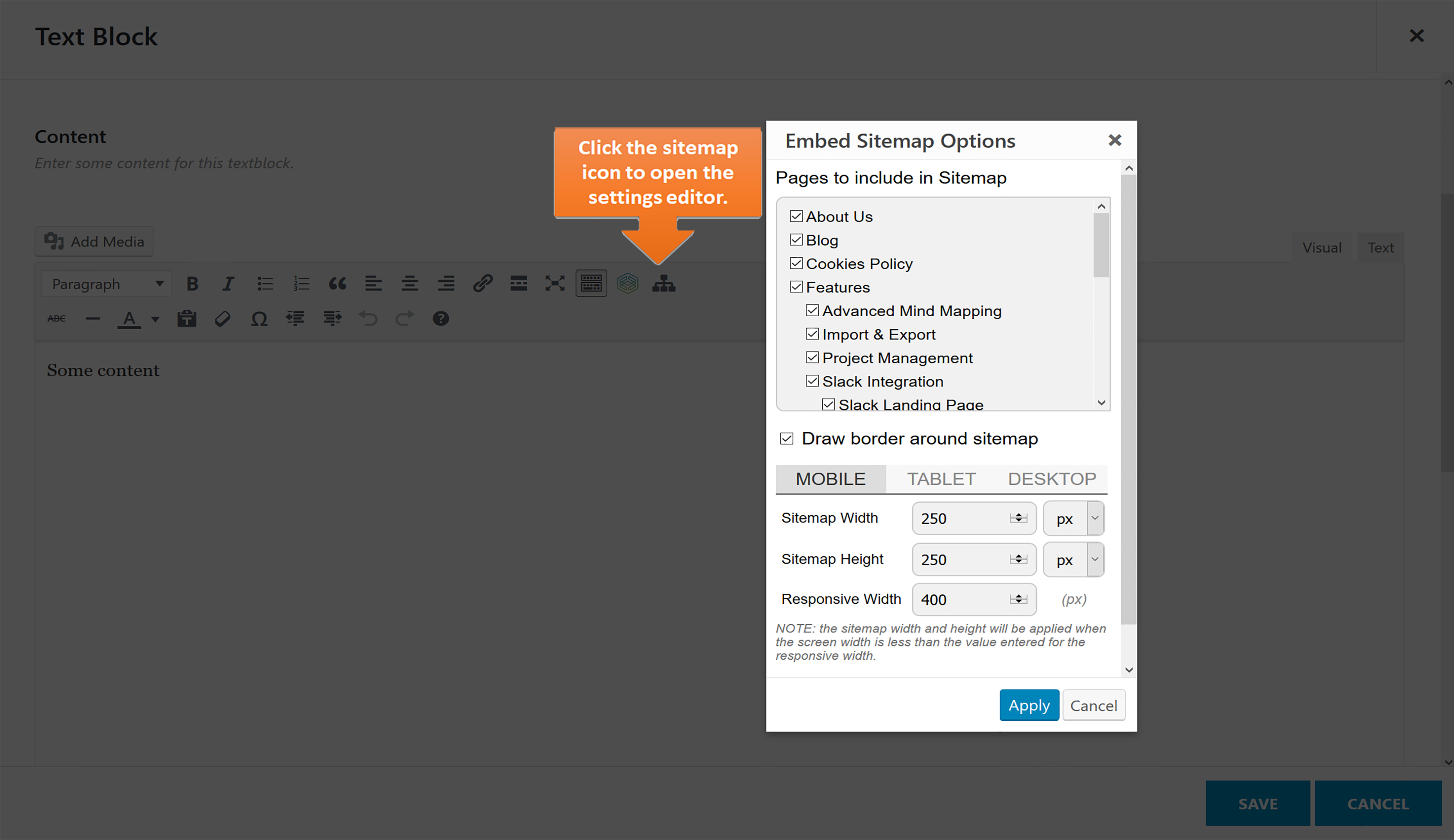 This screenshot shows how the visual sitemap widget can be easily configured and embedded into a web-page.