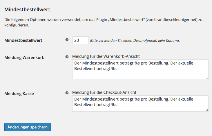 "Screenshot showing the settings section for ""Minimum Order Value"" (here in the provided German translation)."