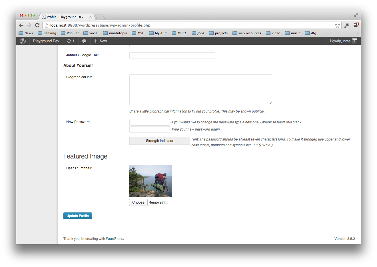 The user profile form with the photo uploader.