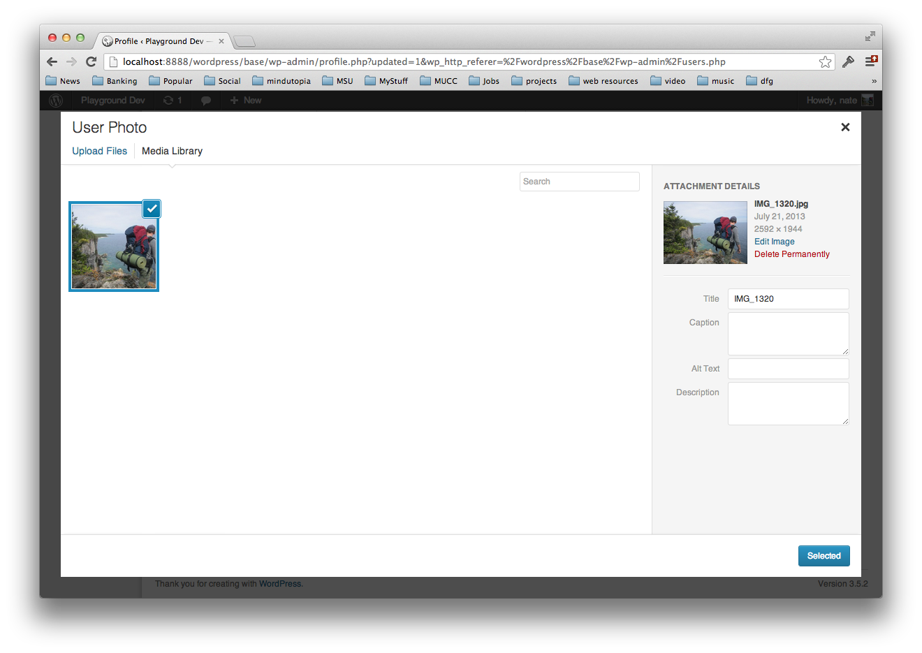Use the native wordpress uploader to choose your user photos.
