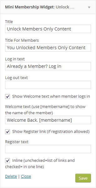 Mini Membership Sidebar Widget backend Settings