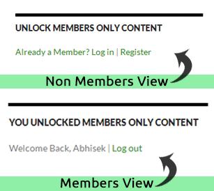 Mini Membership Sidebar Widget in action - for members and non-members