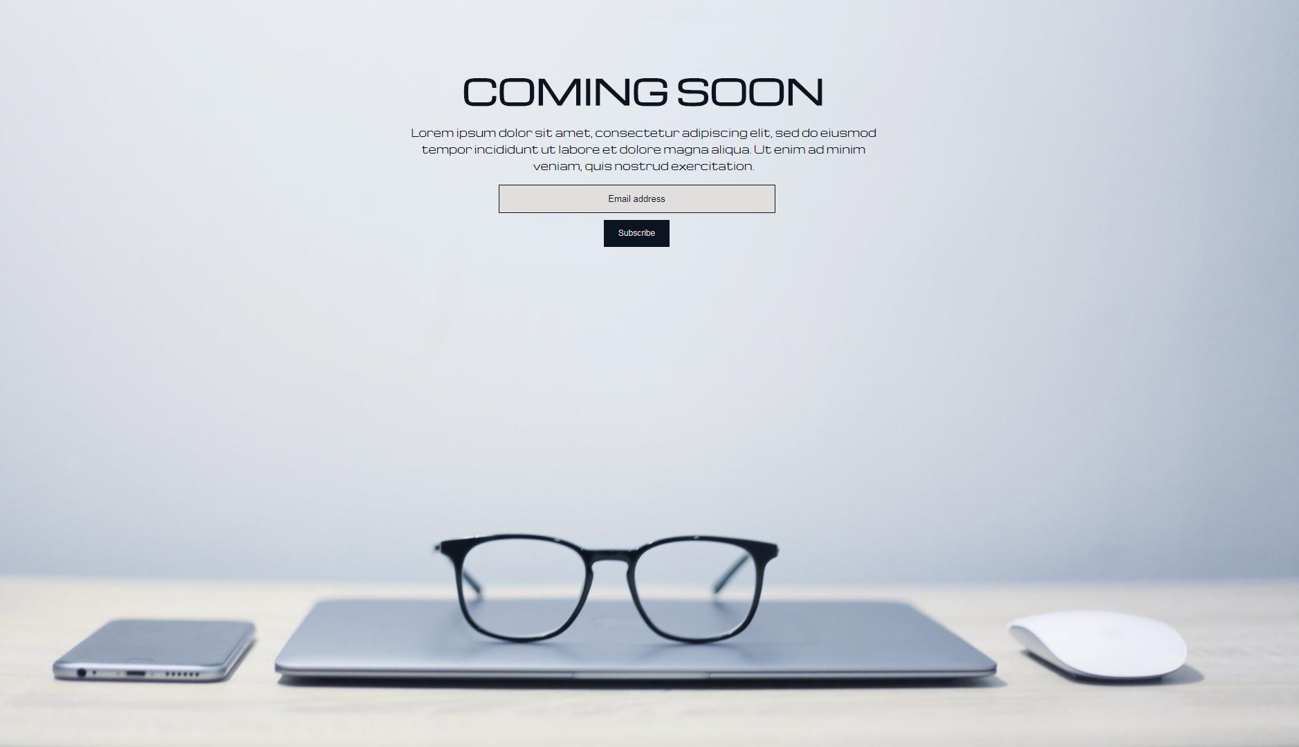 Minimal Coming soon page