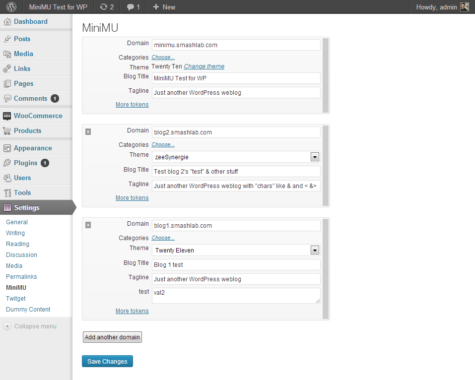 Add as many domains as you'd like, optionally choosing categories, theme and custom variables for each