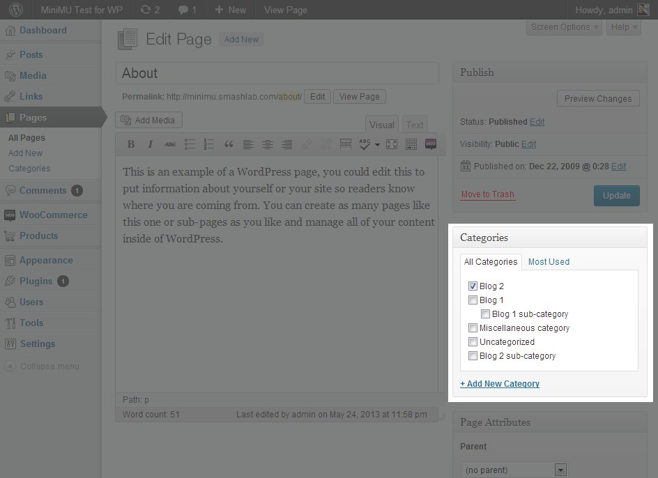 Add categories to your pages if you want them to only appear on certain domains