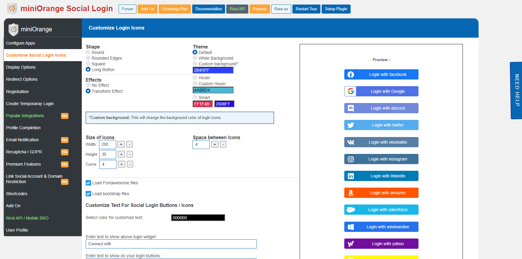 Social Login display customizations
