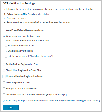 Registration Form selection