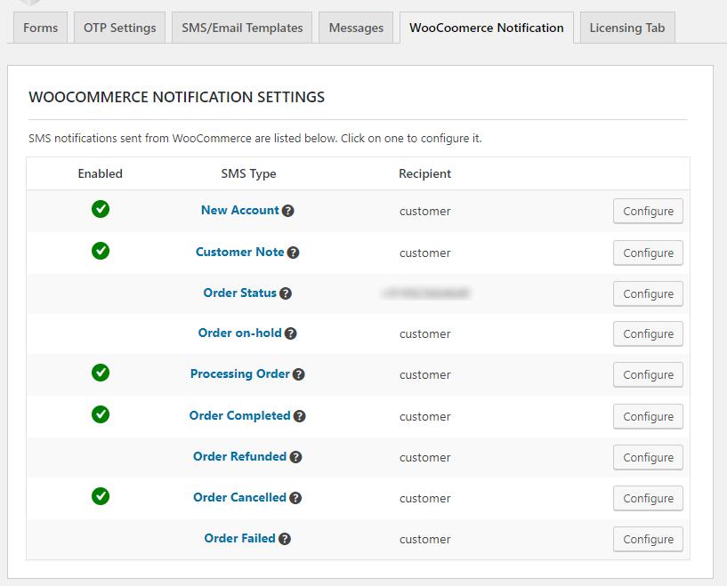 WooCommerce SMS Notifiation settings