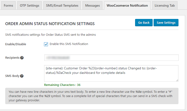 WooCommerce Notification specific setting
