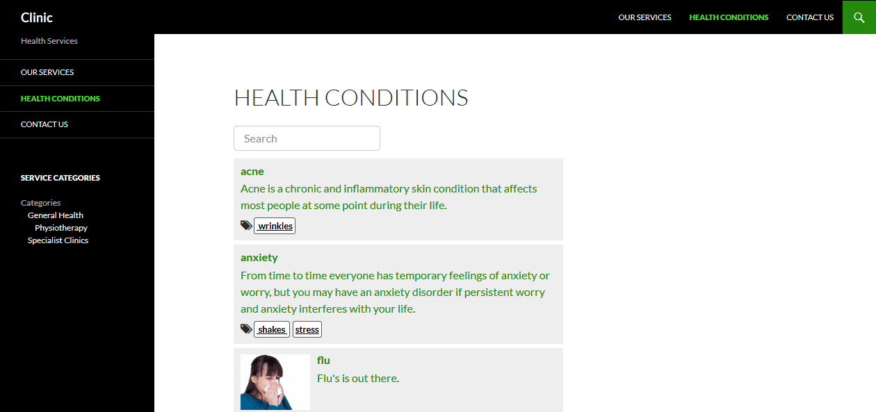 Searchable Health Conditions