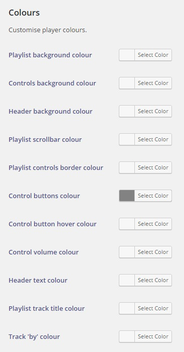 Customise Player Colours (Options page).