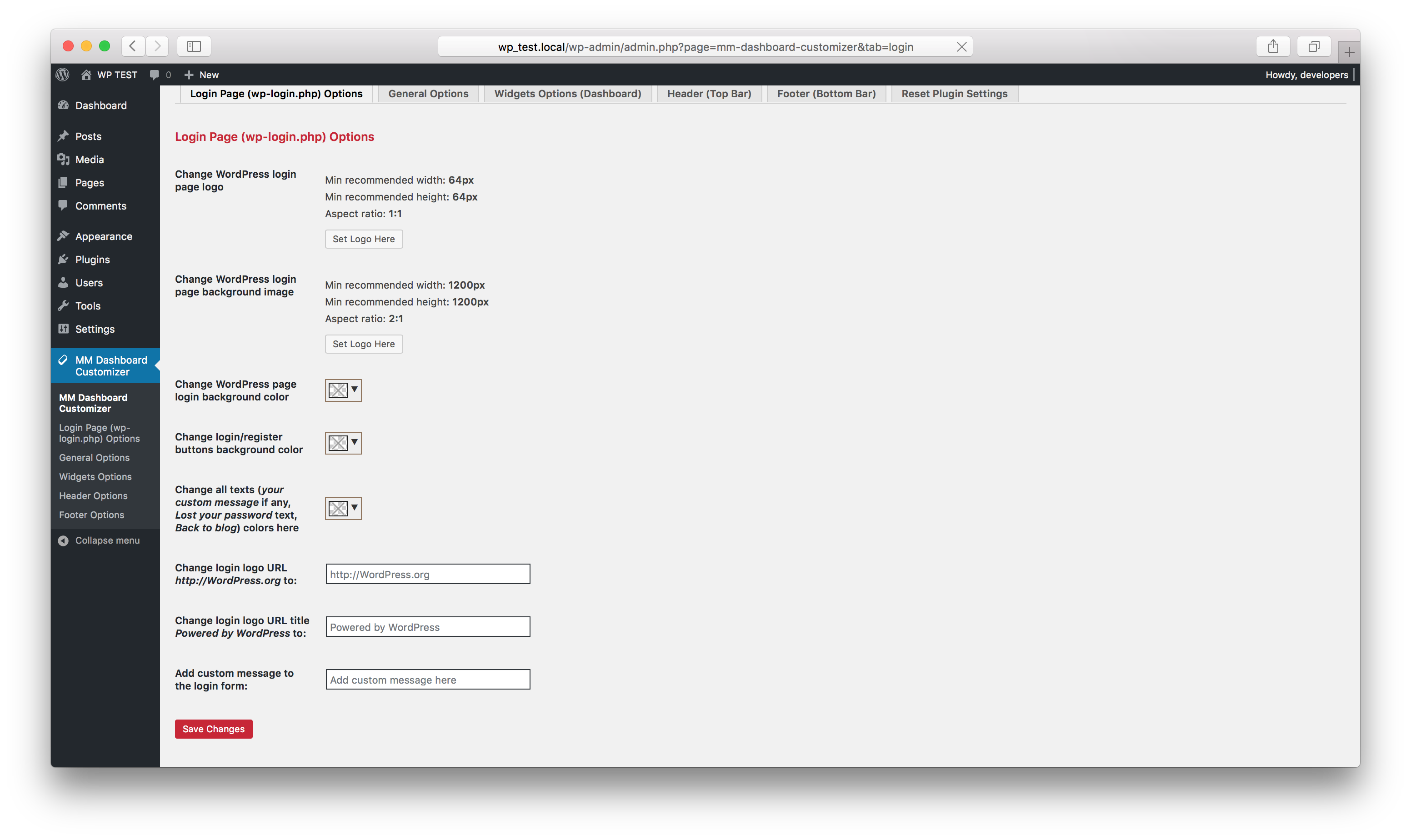 Plugin login page options